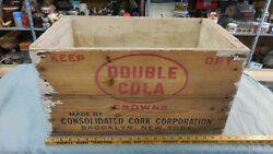 Vintage Large Double Cola Wood Wooden Crate Box Very Nice Clean Rare