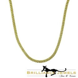 Long Shiny Yellow And White Gold Ice Franco Chain Necklace 30 Inches