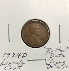 1924 D Lincoln Cent Better Date Strongly Detailed Coin