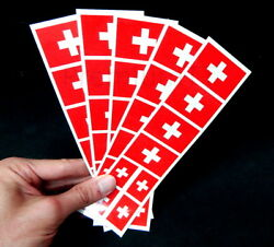 40 Removable Stickers: Swiss Flag Switzerland Party Favors Decals