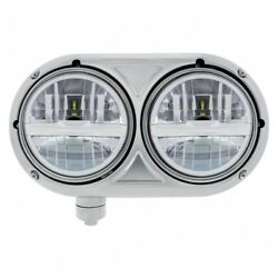 Peterbilt 359 Dual Silver Headlight w 8 LED Bulb - 304 Stainless - Driver Side