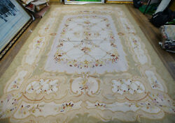 9' X 12' Beautiful Aubusson Victorian Hand-woven Floral Rug Pastel Oliver Ivory