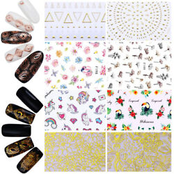 3d Nail Stickers Grid Flower Nails Art Decals Decoration Tips