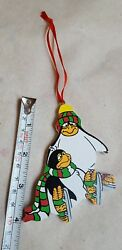 WOODEN PENGUIN ORNAMENT Christmas Xmas tree holiday decoration pre-owned vtg