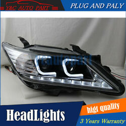 2Pcs Headlights assembly For Toyota Camry12-14 Bi-xenon Lens Projector LED DRL