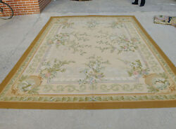 9and039 X 12and039 Shabby Chic Hand-woven Aubusson Wool Rose Bunch Rug Muted Color Gold