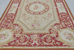 6and039 X 9and039 Victorian Handmade Aubussson Rose Garland Rug Floral Light Gold Burgandy
