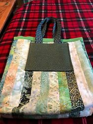 Quilted waterproof lined beach or diaper bag- hand craft one of a kind 19x21