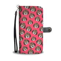 Awesome Cool Beagle Phone Case Wallet Pink Dog Pattern