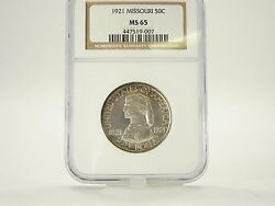 1921 Missouri 50 Cent Uncirculated Silver Commemorative Graded Ngc Ms-65