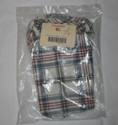 Longaberger Basket Fabric Liner Only Md Purse M Plaid White Red Blue 209402