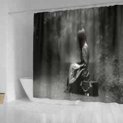 Lonely Girl Shower Curtain  Black & White Photography  Washable Waterproof