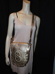 ANNA SUI~GOLD LEATHER~MESSENGER BAG~MADE IN ITALY~RUNWAY COLLECTION