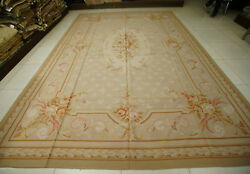 10and039 X 14and039 Vtg Floral Aubusson Rose Bouquet Handmade Rug Wool Muted Color Beige