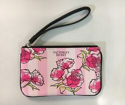 NWT Victoria#x27;s Secret Small Cosmetic Makeup Bag Wristlet Pink Stipes Flower $16.50