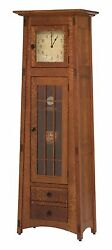 Amish Mission Mccoy Floor Standing Clock Solid Wood Grandfather Curio Style