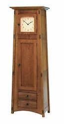 Amish Mission Arts And Crafts Grandfather Clock Mccoy Floor Standing Solid Wood