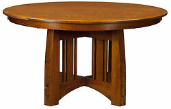 Amish Mission Craftsman Round Pedestal Dining Table Solid Wood 48,54, 60