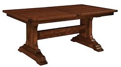 Amish Rustic Plank Manchester Trestle Dining Table Rectangle Solid Wood