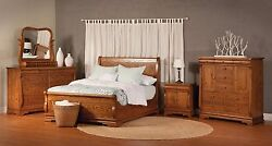 Luxury Amish Traditional Sleigh Bedroom Set Chippewa Solid Wood Full Queen King
