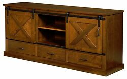Amish Rustic Tv Console Cabinet Solid Rustic Cherry Wood 72 Sliding Barn Door
