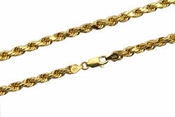 Brand New 14k Yellow Gold 4mm Rope Chain Twist Link Necklace Size 16 - 30