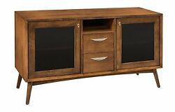 Amish Mid-century Retro Tv Stand Cabinet Solid Wood Glass Doors Drawers 54