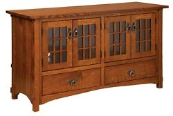 Amish Mission Arts And Crafts Tv Stand Flat Screen Cabinet Storage Wood Tenons