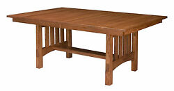 Amish Mission Craftsman Trestle Dining Table Modesto Extendable Solid Wood