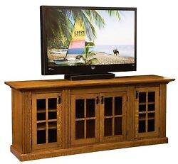 Amish 78 Mission Weston Tv Console Cabinet Solid Wood Glass Doors