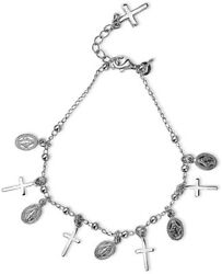Sterling Silver Religious Cross With Mother Mary Medallion Charm Bracelet Women