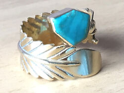 Vintage 14k Yellow Gold Native American Wrap Feather Turquoise Ring Signed