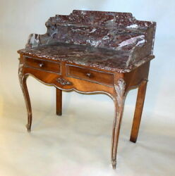 Superb Antique French Commode Vanity Desk Pastry Table Red Marble 19th C.