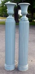 Pair Art Deco Torchieres Floor Lamps Classical Columns Carved Wood Hollywood