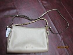 Coach Metallic Platinum Carrie Pebble Leather Crossbody with Chain Strap NWT