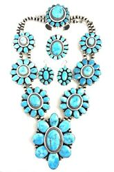Native American Sterling Silver Navajo Sleeping Beauty Turquoise Necklace Set