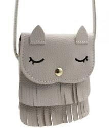 Naovio Cat Tassel Shoulder Bag Small Coin Purse Crossbody Satchel for Kids Girls