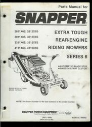 Snapper Extra Tough Series 6 Rear Engine Riding Mower Illustrated Parts List