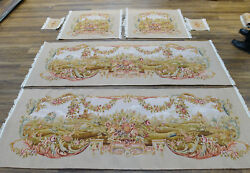 Rococo Style Vintage Aubusson Sofa Chair Bench Cover Silk Wool French Handmade