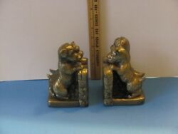 Cast metal terrier puppy bookends