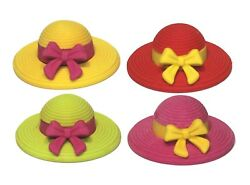 Cute Sun Hat Rubber Erasers 12 Pcs Miniature Kids And Girls School Puzzle Toys