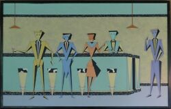 Pair Post Mid Century Huge Shag Martini Bar Before And After Paintings 1994 Rogers