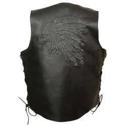 Event Leather Menand039s Side Lace Leather Vest W/ Indian Head Elm3935 Blk