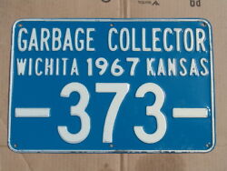 Antique 1967 Garbage Collector License Plate/sign, Wichita, Ks, Embossed 373