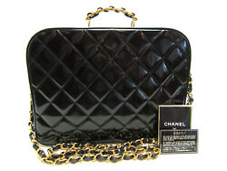 CHANEL RARE Vintage Black Patent Leather Large Vanity Case Cosmetic Bag Tote