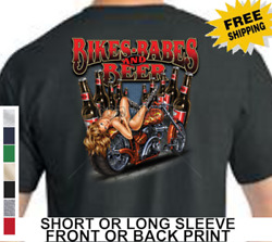 Biker Classic Motorcycle Bikes Babes Beer American Tradition Mens T Shirt