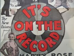 Vintage Movie Poster It's On The Record 1sh 1937 Original Dixieland Jazz Band
