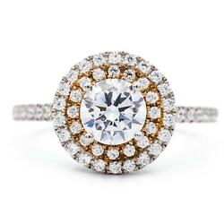6.5mm Round Moissanite Two Tone 14k White And Rose Solid Gold Halo Diamond Shan