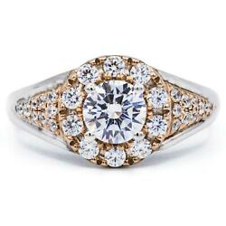 Round Moissanite Two Tone 14k White And Rose Gold Halo Ring