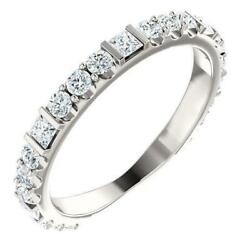 Kenla Square And Round Diamond 3/4 Eternity Bezel With Prongs Band